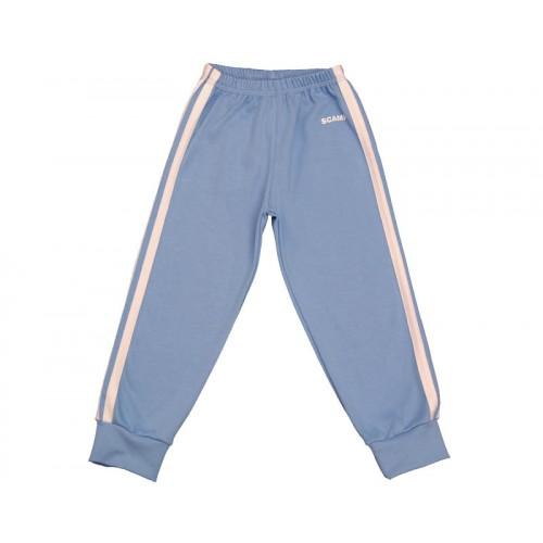 Pantalonaşi cu elastic în talie albastru deschis-alb
