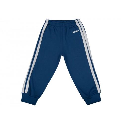 Pantaloni trening copii albastru inchis-alb