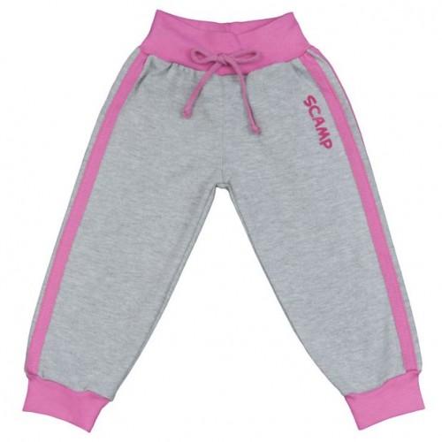 Pantaloni trening bebelusi, gri cu dungi roz