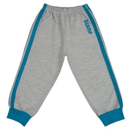 Pantaloni trening copii, cu elastic in talie, gri cu dungi albastre