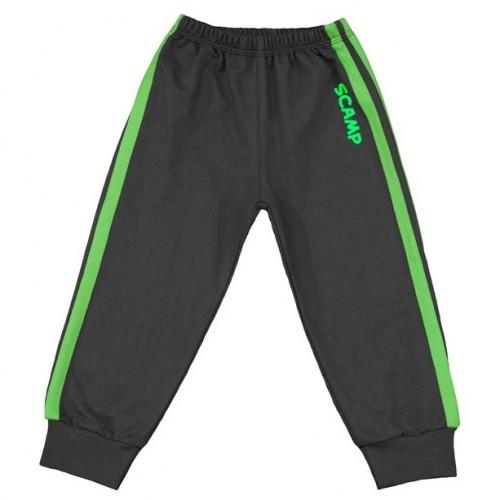 Pantaloni trening copii, negru cu dungi verzi