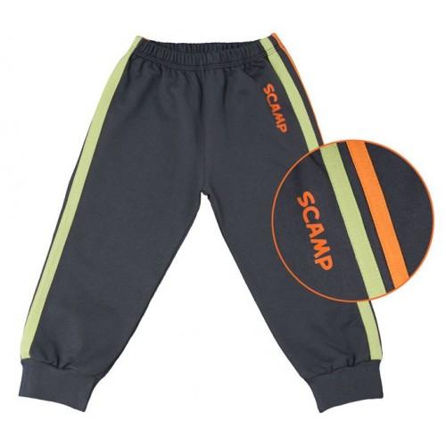 Pantaloni trening copii, cu banda lata in talie, negru cu dungi