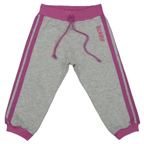 Pantaloni trening DAN gri, cu dungi laterale roz