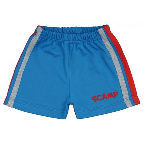 Pantaloni scurti copii, albastru cu dungi rosu si gri