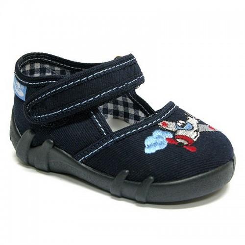 Pantofi baietel, bleumarin, cu avion brodat