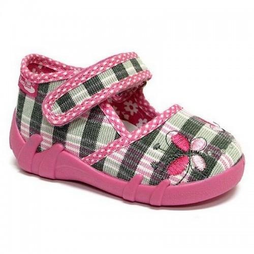 Pantofi fetite, roz, cu fluturasi