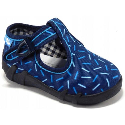 Pantofi baietel cu catarama, din material textil, albastru