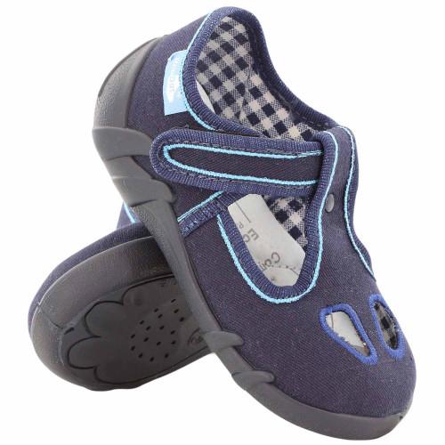 Pantofi baietel cu scai, din material textil, bleumarin REB5134