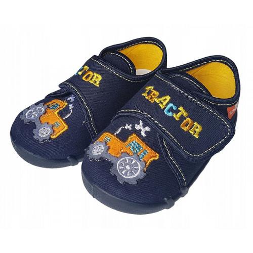 Pantofi baietel, din material textil, bleumarin cu scai, Tractor