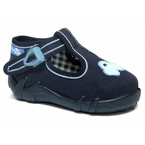 Pantofi baietel, din material textil, cu catarama, bleumarin REB5254