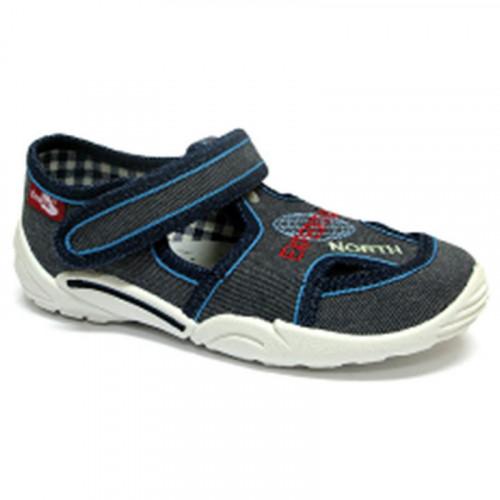 Pantofi baietel, din material textil, gri, cu motiv brodat