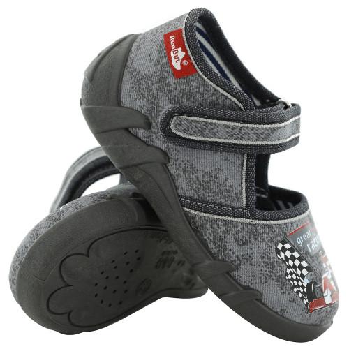 Papucei copii, din material textil, gri cu scai, Great racing