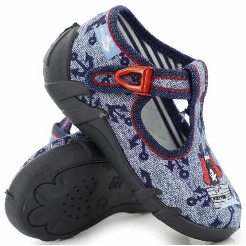 Pantofi baietel, din material textil, jeans, cu motiv corabie, brodat