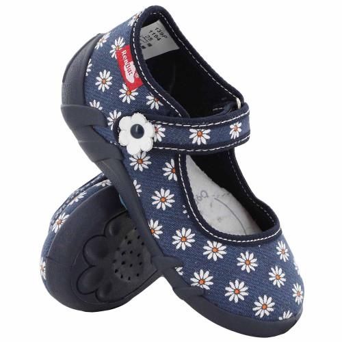 Pantofi fetite, din material textil, albastru inchis cu floricele albe REB5253