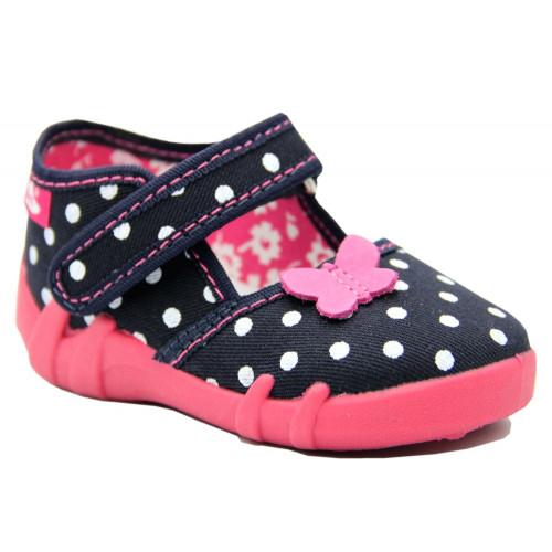 Pantofi fetite, din material textil, bleumarin, cu bulinute albe si fluturasi