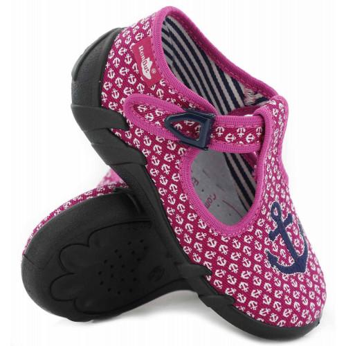 Pantofi fetite, din material textil, cu catarama, cu motiv brodat