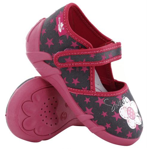 Pantofi fetite, din material textil, gri cu scai, cu motiv floricel