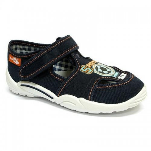 Papucei baietel, din material textil, bleumarin, cu motiv sport