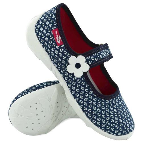 Papucei fetite, din material textil, albastru inchis, cu motive