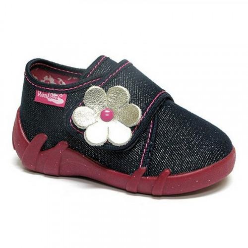 Papucei fetite, din material textil, bleumarin cu scai, cu floricel