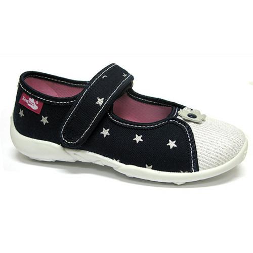 Papucei fetite, din material textil, bleumarin cu scai, cu motiv floricel