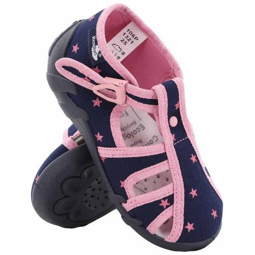 Papucei fetite, din material textil, bleumarin, cu stelute roz