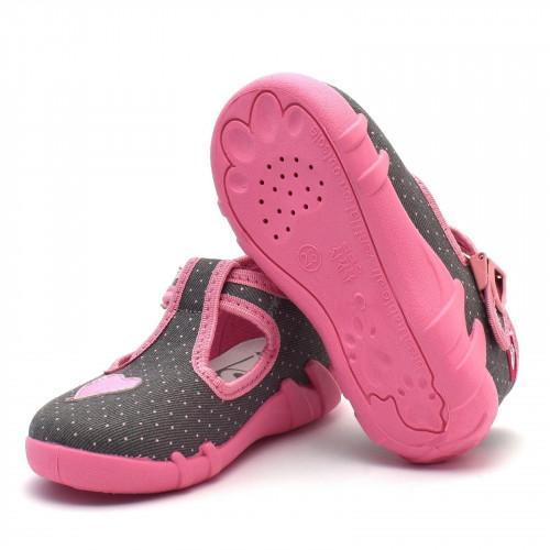 Papucei fetite, din material textil, gri, cu bulinute roz