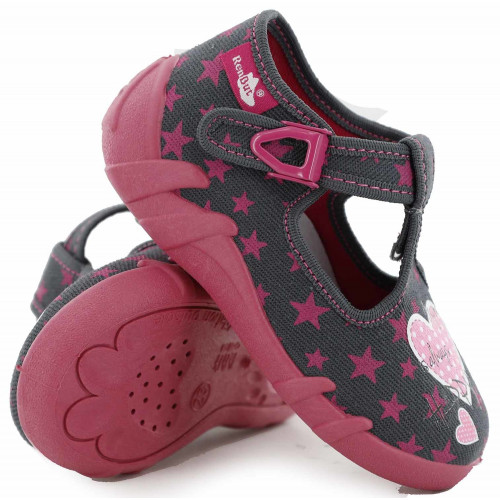 Papucei fetite, din material textil, gri, cu motive stelute