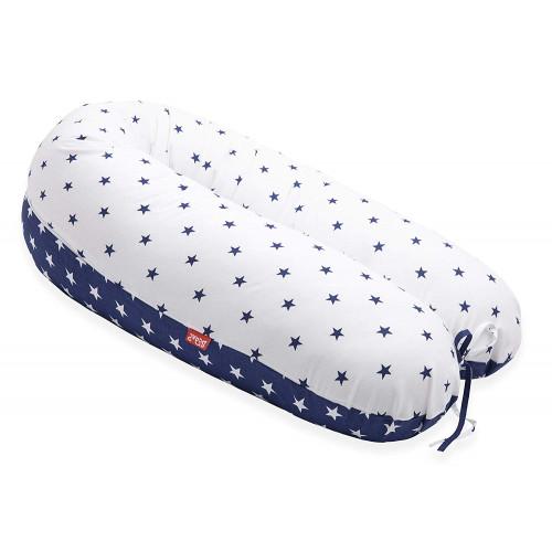 Perna Scamp 3 in 1 pentru gravide, alaptat, bebelusi, 160 cm, Blue White Star