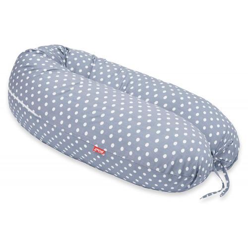 Perna Scamp 3 in 1 pentru gravide, alaptat, bebelusi, 160 cm, Grey Dots