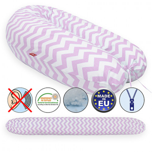 Perna Scamp 3 in 1 pentru gravide, alaptat, bebelusi, 150 cm, ZigZag Pink White