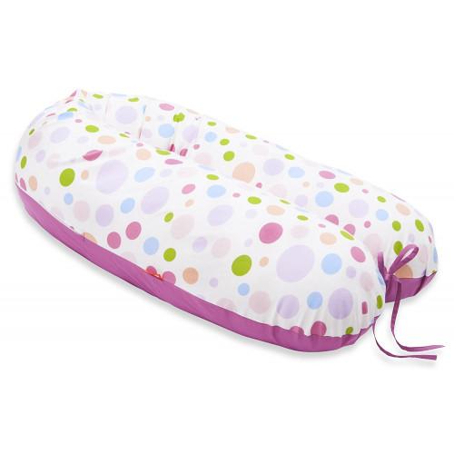 Perna Scamp 3 in 1 pentru gravide, alaptat, bebelusi, 160 cm, Polka Pink Two