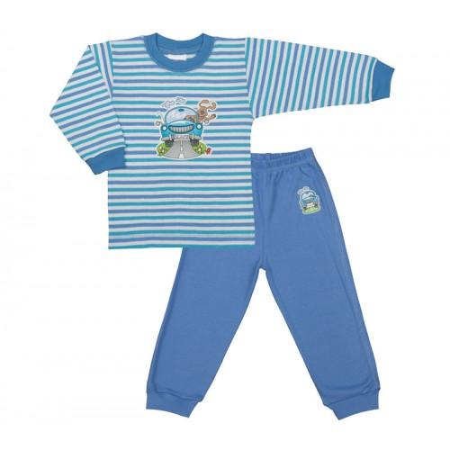 Pijama cu maneca lunga albastru cu dungi