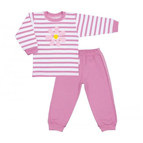 Pijama copii, roz cu motiv floare