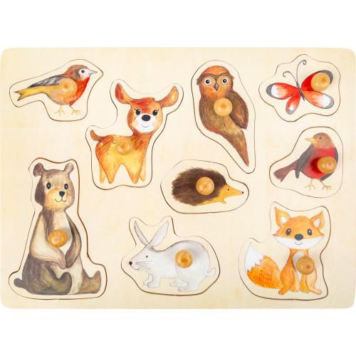Puzzle lemn educativ cu maner, Animalele padurii