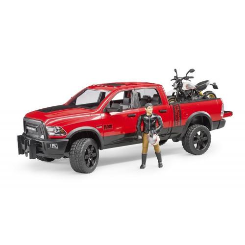 RAM 2500 Pickup si motocicleta cu figurina motociclist, Bruder 02502