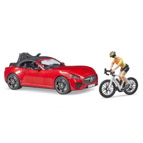 Roadster cu bicicleta de curse si ciclist, Bruder 03485