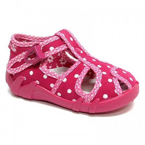 Sandale fetite, textil, roz, cu bulinute albe
