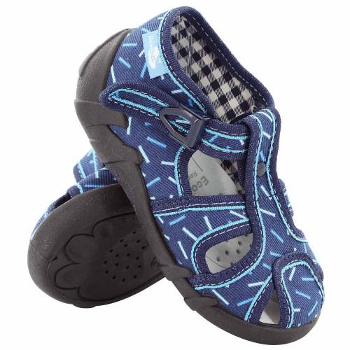 Sandale baietel, cu catarama, din material textil, albastru cu motiv