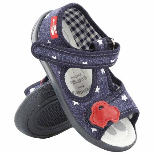 Sandale baietel, cu catarama, din material textil, bleumarin, cu motiv