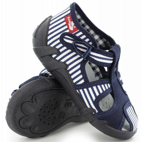 Sandale baietel cu catarama, din material textil, bleumarin