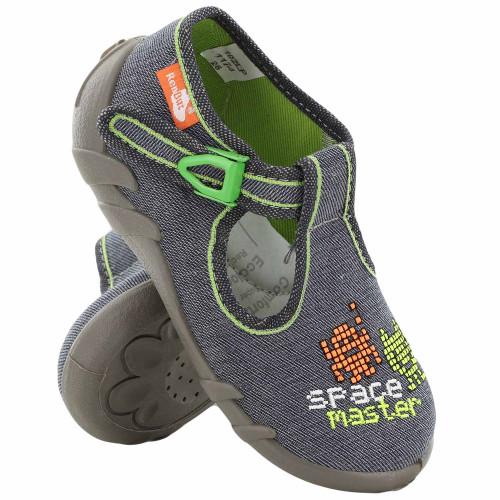 Sandale baietel, cu catarama, din material textil, gri, Space master REB5249