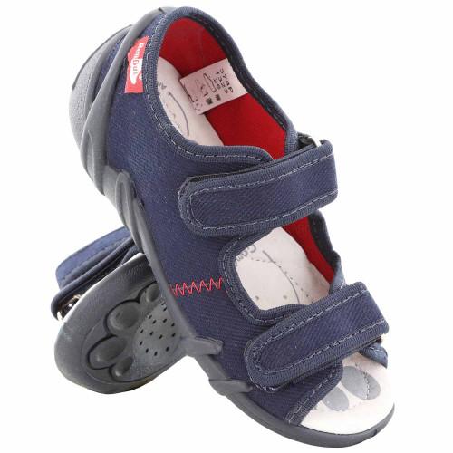 Sandale baietel cu scai, din material textil, bleumarin, REB5260