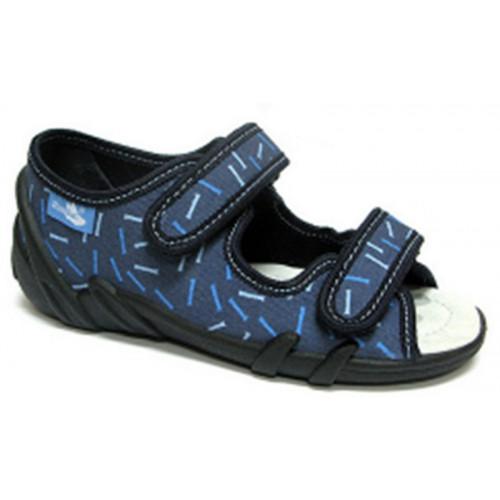 Sandale baietel cu scai, din material textil, albastru
