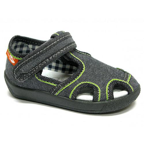 Sandale baietel cu scai, din material textil, gri