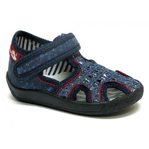 Sandale baietel, din material textil, albastru inchis, cu scai