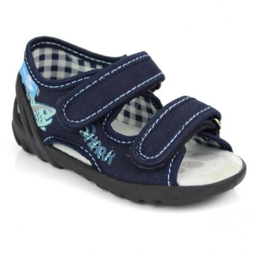 Sandale baietel, din material textil, bleumarin, Shark