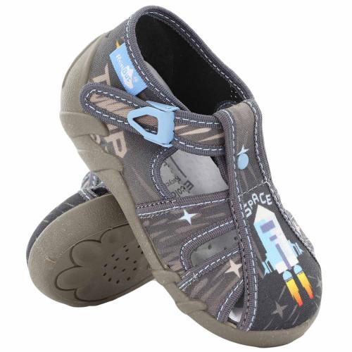 Sandale baietel REB5251, cu catarama, din material textil, gri, Space