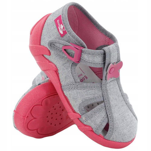 Sandale fetite cu catarama, din material textil, roz, cu floricel