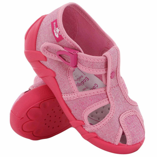 Sandale fetite cu catarama, din material textil, roz